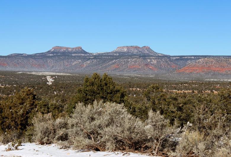 FILE PHOTO - Bears Ears, the twin rock formations in Utah's Four Corners region is pictured in Utah, U.S. December 19, 2016. Picture taken December 19, 2016.   REUTERS/Annie Knox