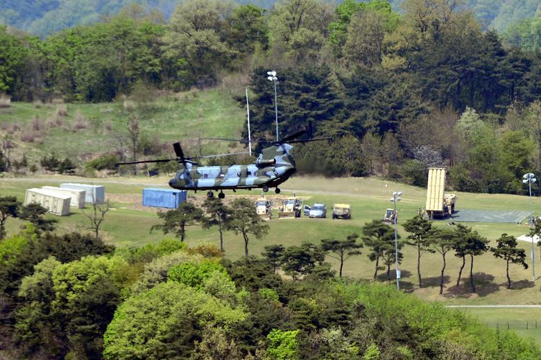 A Terminal High Altitude Area Defense (THAAD) interceptor (R) is seen in Seongju, South Korea, April 26, 2017. Lee Jong-hyeon/News1 via REUTERS