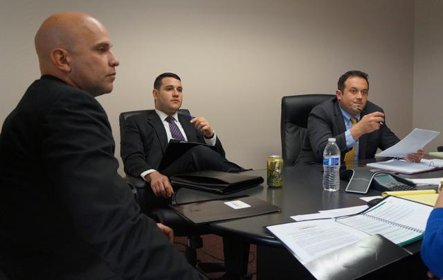 Florida Representative Rene Plasencia (L), discusses efforts to advance LGBT anti-discrimination legislation in a meeting at the state Capitol with lobbyist Joseph Salzverg (C), representing the business advocacy group Florida Competes, and Democratic Representative Ben Diamond in Tallahassee, Florida, U.S., April 4, 2017.  Photo taken April 4, 2017.  REUTERS/Letitia Stein