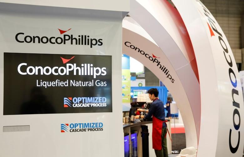 Logos of ConocoPhillips are seen in its booth at Gastech, the world's biggest expo for the gas industry, in Chiba, Japan, April 4, 2017.    REUTERS/Toru Hanai
