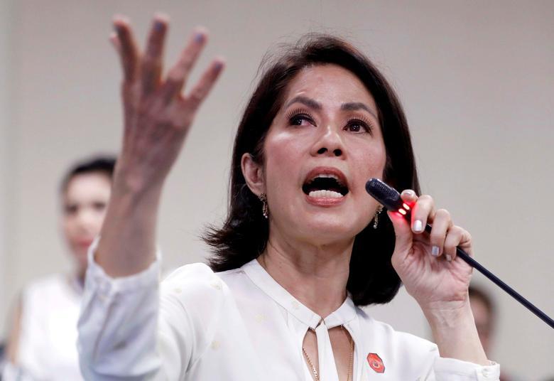 FILE PHOTO: Philippine Environment Secretary Regina Lopez speaks during her Congressional confirmation hearing at Senate in Manila, Philippines May 2, 2017.  REUTERS/Erik De Castro/File photo