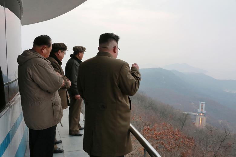 Kim Jong Un watched the ground jet test of a Korean-style high-thrust engine newly developed by the Academy of the National Defence Science in this undated picture provided March 19, 2017. KCNA/via Reuters