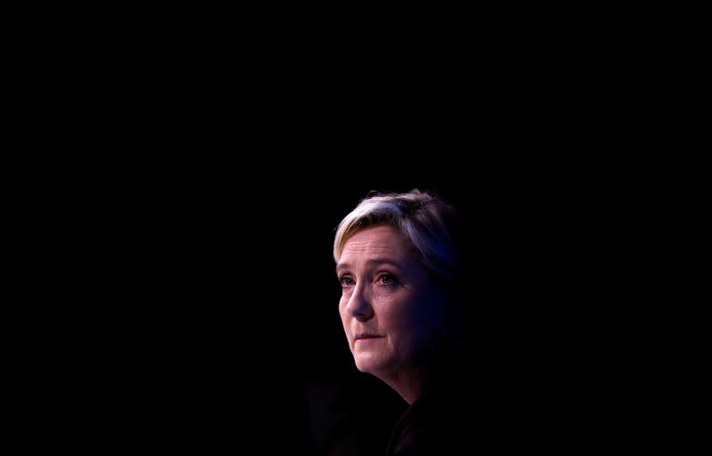 Marine Le Pen attends a meeting focused on civil works in Paris, France, February 23, 2017. REUTERS/Christian Hartmann