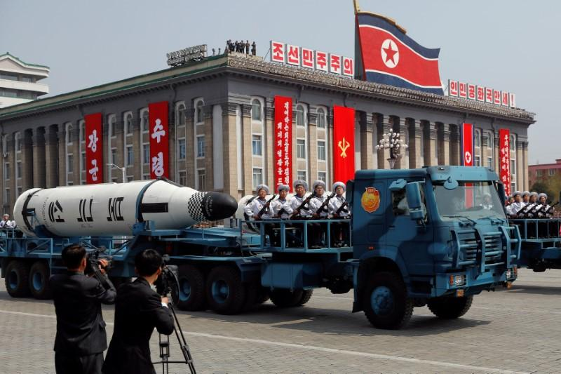 A North Korean navy truck carries the 'Pukkuksong' submarine-launched  ballistic missile during a military parade marking the 105th birth  anniversary of the ...