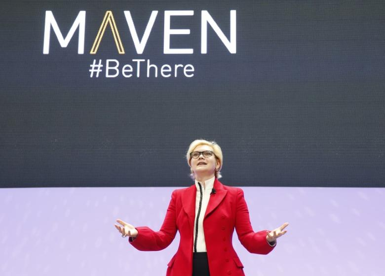 FILE PHOTO: Julia Steyn, VP, General Motors Urban Mobility, speaks about GM's new Maven ride services unit, Maven, during the North American International Auto Show in Detroit, Michigan, U.S., January 9, 2017. REUTERS/Brendan McDermid