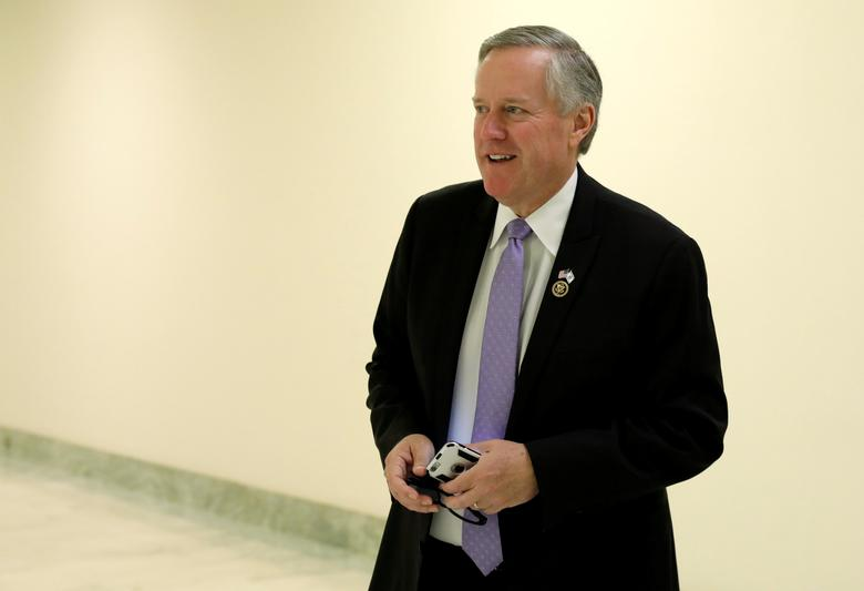 Chairman of the Freedom Caucus U.S. Rep. Mark Meadows (R-NC), who today said that Republicans still lack the votes to pass a reform bill to overhaul the U.S. healthcare system, walks in a hallway of the Rayburn Building on Capitol Hill in Washington, U.S., May 2, 2017. REUTERS/Kevin Lamarque
