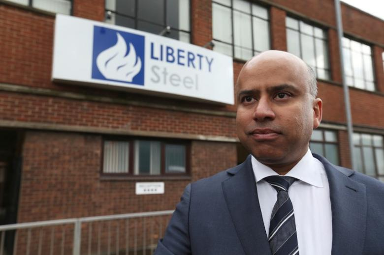 Liberty Steel boss Sanjeev Gupta stands outside steel pressing mill in Dalzell after completing its purchase, Scotland, Britain April 8, 2016. REUTERS/Russell Cheyne