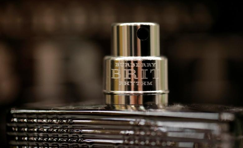 FILE PHOTO: An atomiser is seen on a Burberry Brit Rhythm glass bottle displayed at a perfume shop in Paris, November 15, 2013. REUTERS/Christian Hartmann/File Photo