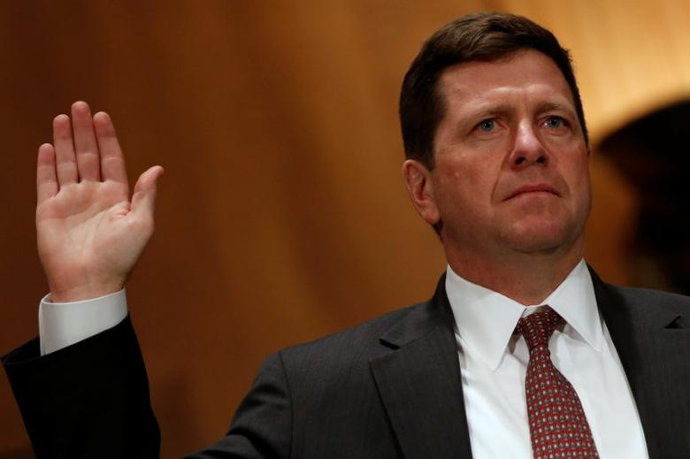Jay Clayton is sworn in to testify at a Senate Banking, Housing and Urban Affairs Committee hearing on his nomination of to be chairman of the Securities and Exchange Commission (SEC) on Capitol Hill in Washington, U.S. March 23, 2017.  REUTERS/Jonathan Ernst