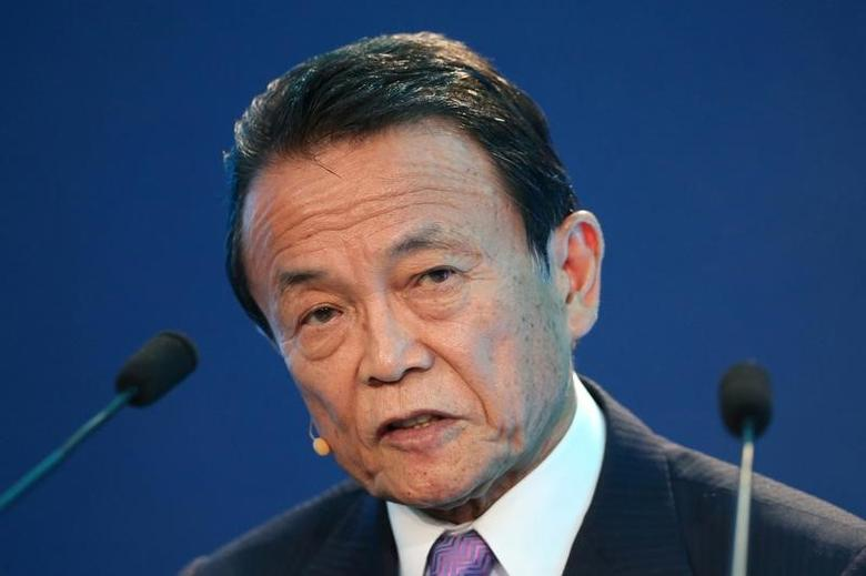 Taro Aso, Deputy Prime Minister, Minister of Finance and Minister of State for Financial Services of Japan, speaks during the Milken Institute Global Conference in Beverly Hills, California, U.S., May 1, 2017. REUTERS/Lucy Nicholson