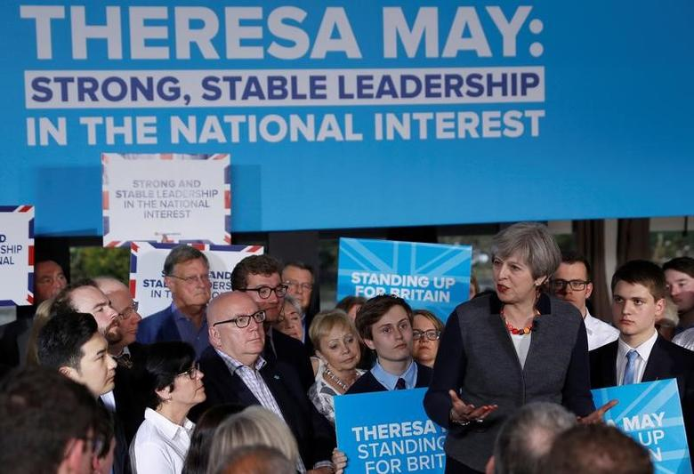 Britain's Prime Minister Theresa May speaks at a campaign event in Bristol, Britain May 2, 2017.  REUTERS/Peter Nicholls
