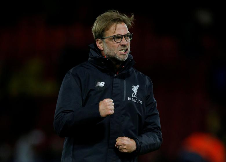 Britain Football Soccer - Watford v Liverpool - Premier League - Vicarage Road - 1/5/17 Liverpool manager Juergen Klopp celebrates after the match Action Images via Reuters / Andrew Couldridge Livepic