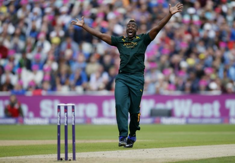 Notts' Andre Russell celebrates the wicket of Northant's Richard Levi Action Images via Reuters / Paul Childs