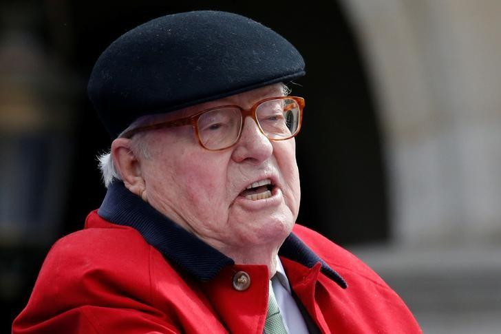 French far-right National Front founder Jean-Marie Le Pen delivers a speech in front of the statue of Jeanne d'Arc (Joan of Arc) as part of the National Front's annual May Day ceremonies in Paris, France, May 1, 2017. REUTERS/Gonzalo Fuentes