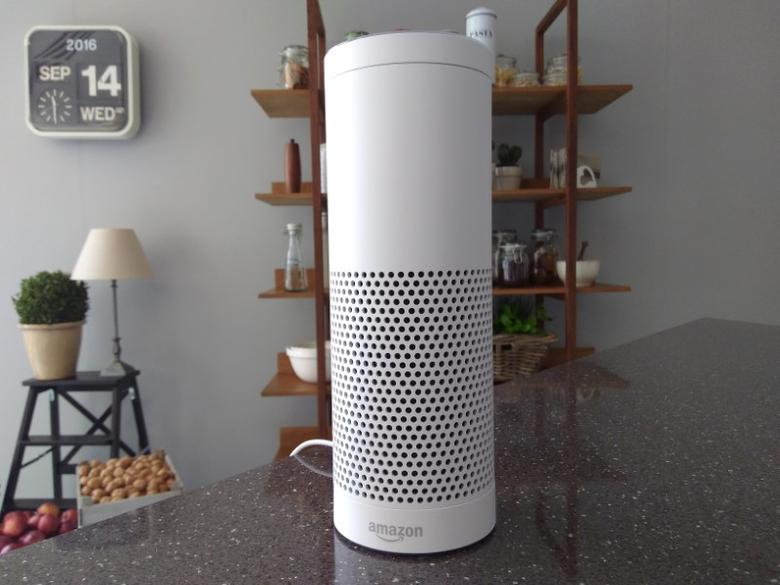 FILE PHOTO: The Amazon Echo, a voice-controlled virtual assistant, is seen at its product launch for Britain and Germany in London, Britain, September 14, 2016. REUTER/Peter Hobson