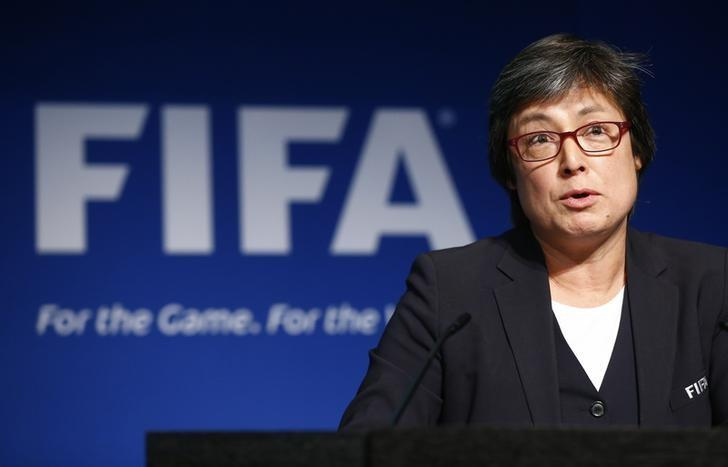 Chair of the FIFA Task Force for Women's Football Moya Dodd addresses a news conference after a meeting of the Executive Committee at FIFA's headquarters in Zurich, Switzerland December 3, 2015. REUTERS/Arnd Wiegmann