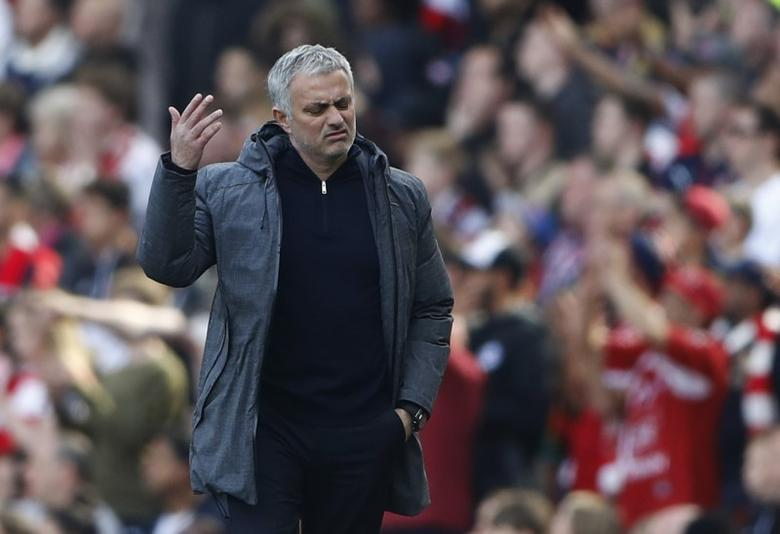 Britain Soccer Football - Arsenal v Manchester United - Premier League - Emirates Stadium - 7/5/17 Manchester United manager Jose Mourinho reacts Reuters / Stefan Wermuth Livepic