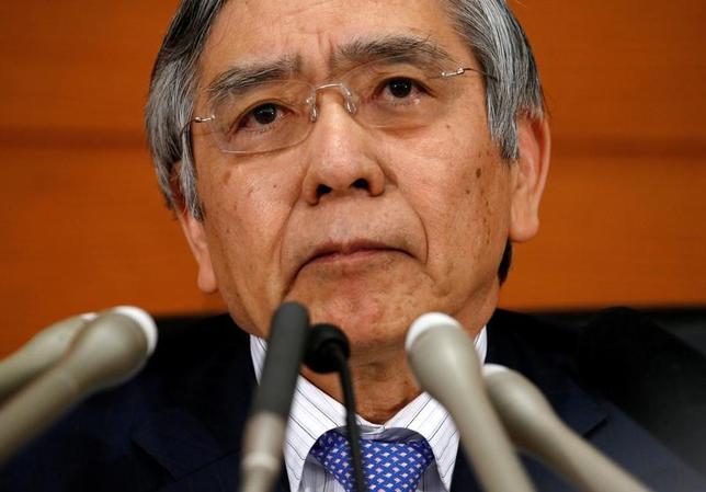 5月9日、黒田東彦日銀総裁は、都内で講演し、世界経済の持ち直しが続く中で、世界的な金融危機以降に広がったペシミズム(悲観論)は後退しているとの認識を示した。欧米で強まりをみせている保護主義的な動きに対しては、「内向き志向に明るい未来はない」とけん制した。写真は都内で4月撮影(2017年 ロイター/Kim Kyung Hoon)