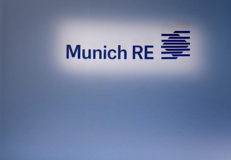 FILE PHOTO: Company logo of German Reinsurer Munich Re is pictured prior the company's annual news conference in Munich March 11, 2015.     REUTERS/Michaela Rehle/File Photo