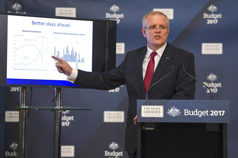 Australia's Treasurer Scott Morrison speaks during a media conference held before he delivers the federal budget at Parliament House in Canberra, Australia, May 9, 2017. AAP/Lukas Coch/via REUTERS