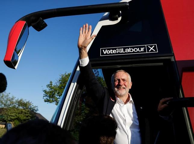 5月9日、英野党・労働党のコービン党首は、来月の総選挙で勝利した場合、欧州連合(EU)離脱交渉で無関税貿易を実現すると表明した。写真は選挙運動先のリーズで撮影(2017年 ロイター/Phil Noble)