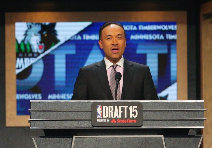 Jun 25, 2015; Brooklyn, NY, USA; NBA deputy commissioner Mark Tatum speaks during the second round of the 2015 NBA Draft at Barclays Center. Mandatory Credit: Brad Penner-USA TODAY Sports/Files