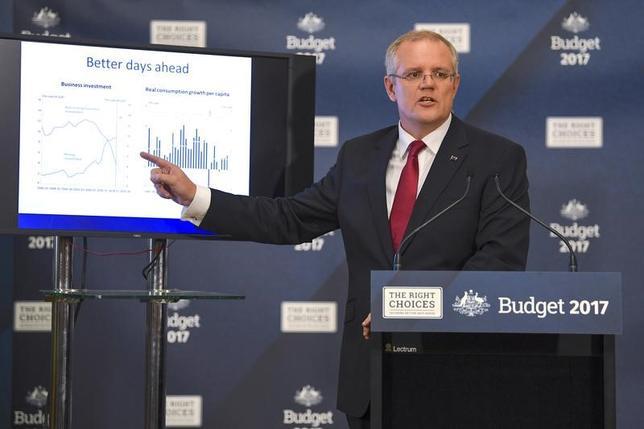 5月10日、オーストラリア政府は9日、新たな銀行課税を明らかにしたが、業界や政界の関係筋によると、長年多大な利益を享受してきた業界の寡占状態を国民が支持していないことを考えると、大手銀行は新税を受け入れるとみられる。写真は予算案を説明するモリソン財務相、提供写真(2017年 AAP/Lukas Coch)
