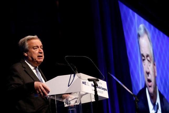 United Nations Secretary-General Antonio Guterres addresses the 15th Plenary Assembly of the World Jewish Congress in New York City, U.S., April 23, 2017. REUTERS/Brendan McDermid/Files