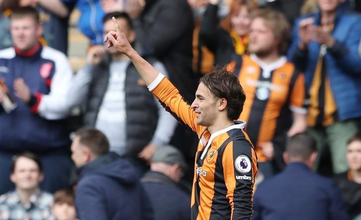 Britain Soccer Football - Hull City v Watford - Premier League - The Kingston Communications Stadium - 22/4/17 Hull City's Lazar Markovic celebrates scoring their first goal  Reuters / Scott Heppell Livepic