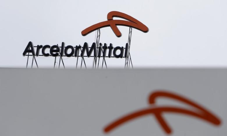 A logo is seen on the roof of the ArcelorMittal steelworks headquarters in Ostrava, Czech Republic, April 1, 2016.   REUTERS/David W Cerny