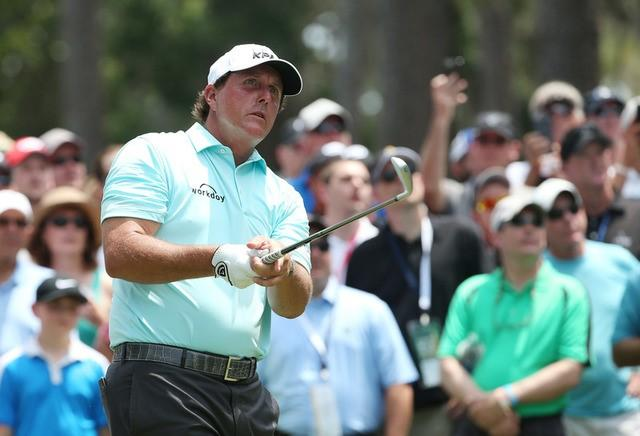 May 11, 2017; Ponte Vedra Beach, FL, USA;  Phil Mickelson follows his tee shot off the 6th tee box during the first round of The Players Championship golf tournament at TPC Sawgrass - Stadium Course. Mandatory Credit: Peter Casey-USA TODAY Sportsduring the first round of The Players Championship golf tournament at TPC Sawgrass - Stadium Course. Mandatory Credit: Peter Casey-USA TODAY Sports