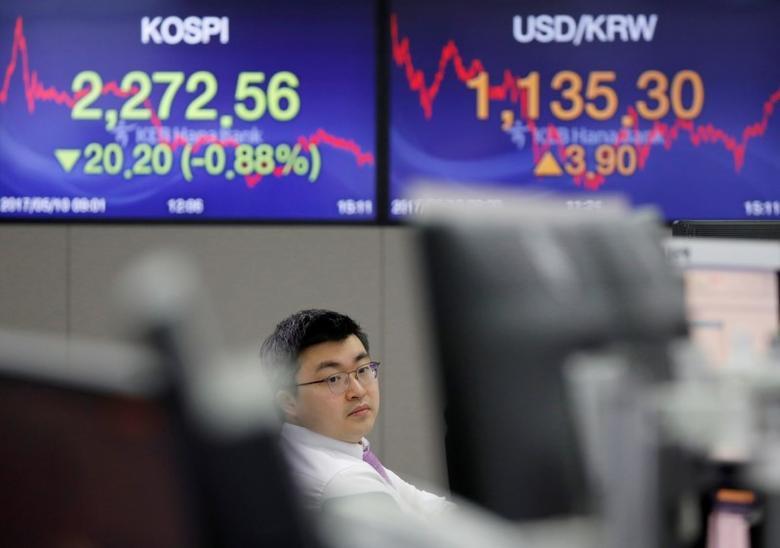 2017年5月10日,首尔,一家银行的外汇交易员身边屏幕上显示韩国综合股价指数(KOSPI)和韩元兑美元汇价。REUTERS/Kim Hong-Ji
