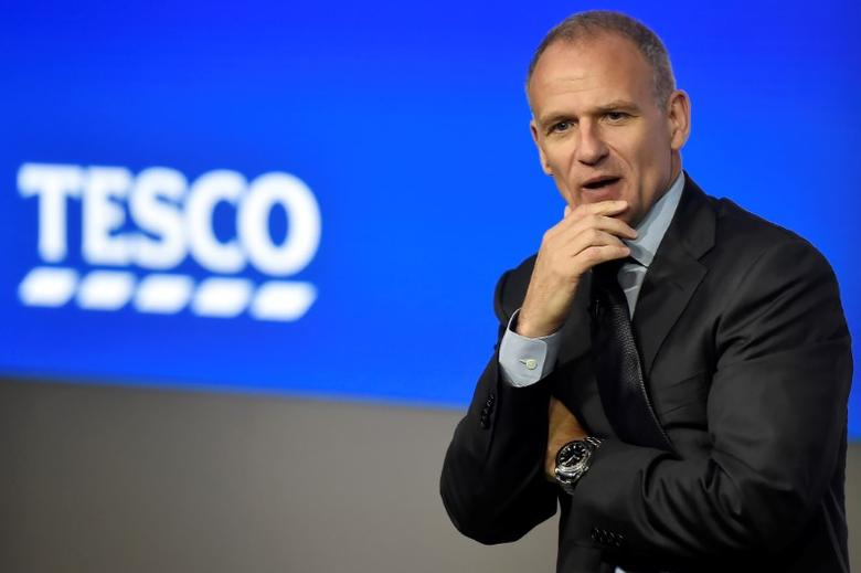 Tesco Group Chief Executive, Dave Lewis speaks at an analyst presentation in London, Britain, April 12, 2017. REUTERS/Hannah McKay