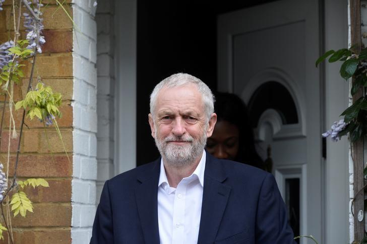 Jeremy Corbyn, the leader of Britain's opposition Labour Party, leaves his home in north London, Britain, May 11, 2017. Picture taken May 11, 2017. REUTERS/Hannah McKay