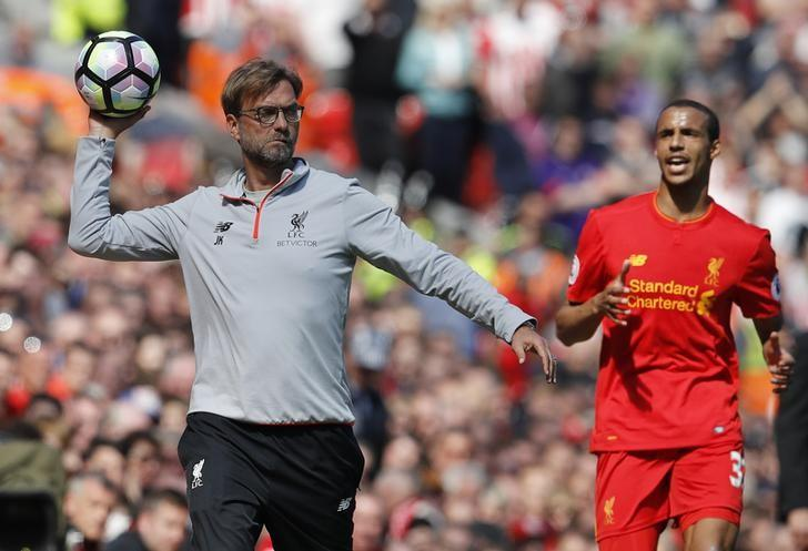 Britain Soccer Football - Liverpool v Southampton - Premier League - Anfield - 7/5/17 Liverpool manager Juergen Klopp and Joel Matip  Reuters / Phil Noble Livepic