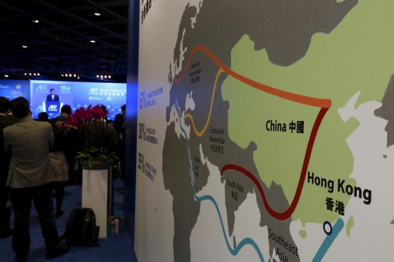 A map illustrating China's silk road economic belt and the 21st century maritime silk road, or the so-called ''One Belt, One Road'' megaproject, is displayed at the Asian Financial Forum in Hong Kong, China January 18, 2016. REUTERS/Bobby Yip/File Photo