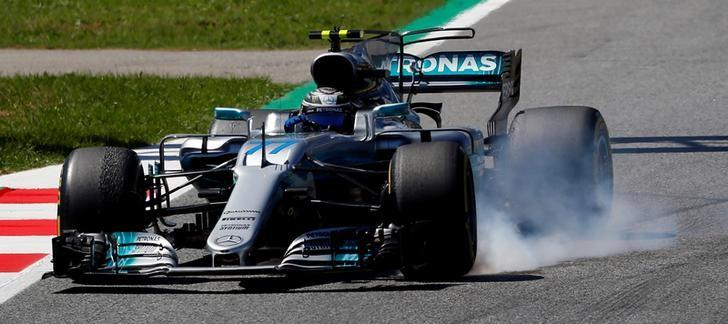 Formula One - F1 - Spanish Grand Prix - Barcelona-Catalunya racetrack, Montmelo Spain - 12/05/17 - Mercedes' Valtteri Bottas in action during the second free practice. REUTERS/Juan Medina