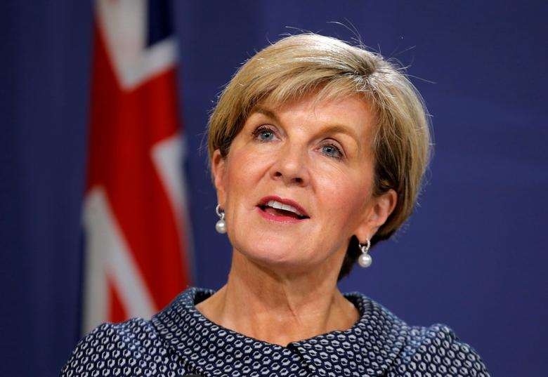 Australian Foreign Minister Julie Bishop speaks at a joint press conference with New Zealand's Foreign Minister Gerry Brownlee (not pictured) in Sydney, Australia, May 4, 2017.     REUTERS/Jason Reed