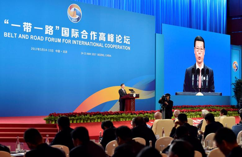 Chinese Vice Premier Zhang Gaoli delivers a speech on Plenary Session of High-Level Dialogue, at the Belt and Road Forum in Beijing, China May 14, 2017. REUTERS/Kenzaburo Fukuhara/Pool