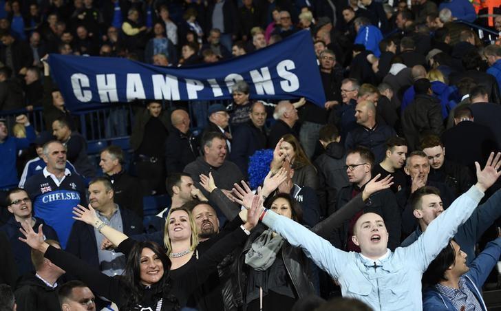 Britain Football Soccer - West Bromwich Albion v Chelsea - Premier League - The Hawthorns - 12/5/17 Chelsea fans celebrate after winning the Premier League title Reuters / Dylan Martinez Livepic