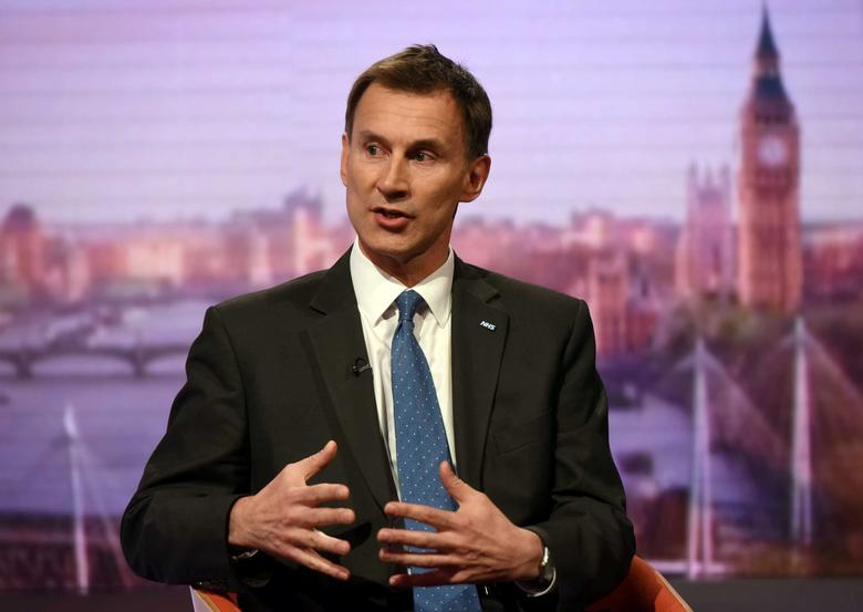 Britain's Health Secretary Jeremy Hunt speaks on the BBC's Andrew Marr Show in London, Britain May 7, 2017.  Jeff Overs/BBC handout via REUTERS