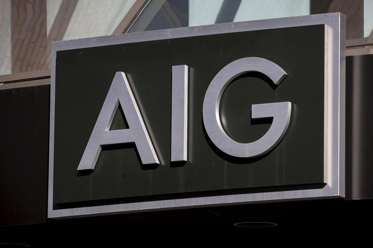 The AIG logo is seen at its building in New York's financial district March 19, 2015.   REUTERS/Brendan McDermid/Files