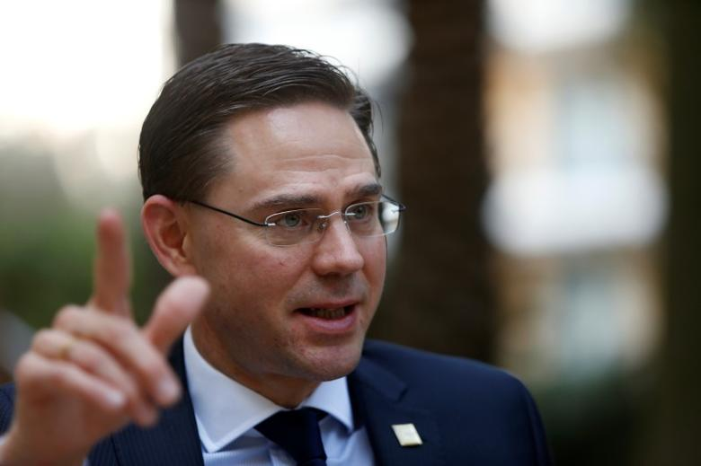 European Commission Vice-President Jyrki Katainen is interviewed by Reuters on the fringe of a European People Party (EPP) summit in St Julian's, Malta, March 30, 2017. REUTERS/Darrin Zammit Lupi