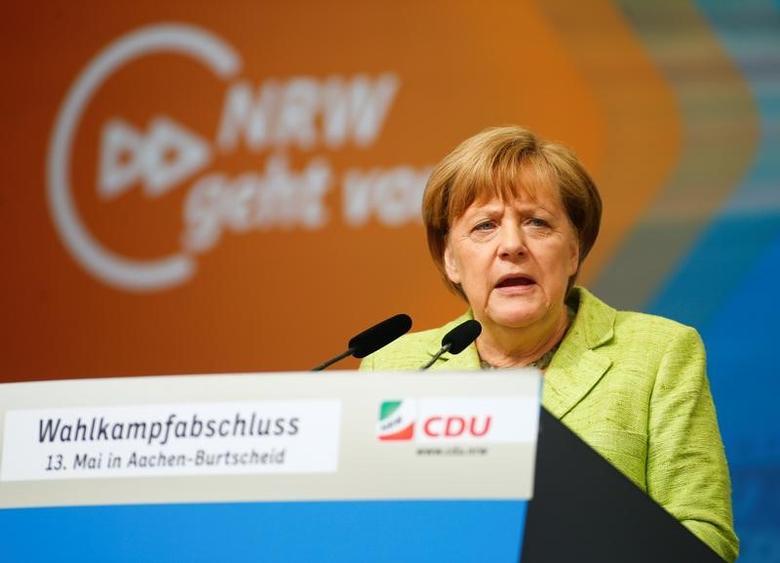 German Chancellor Angela Merkel speaks during an election rally in Aachen, Germany, May 13, 2017. REUTERS/Thilo Schmuelgen