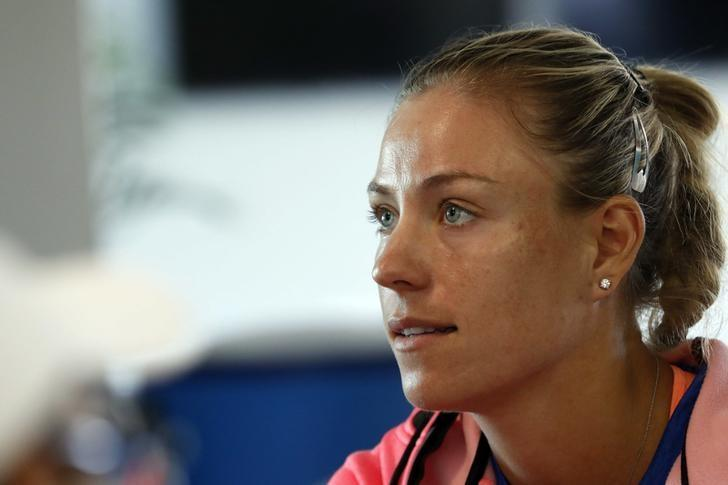 Mar 21, 2017; Miami, FL, USA; Angelique Kerber of Germany speaks with the media on day one of the 2017 Miami Open at Crandon Park Tennis Center. Mandatory Credit: Geoff Burke-USA TODAY Sports