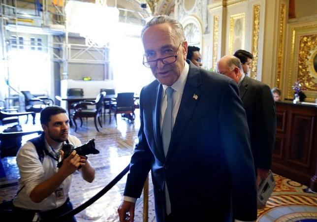 Senate Minority Chuck Schumer (D-NY) speaks to reporters after a Democratic caucus meeting at the U.S. Capitol in Washington, U.S., May 10, 2017. REUTERS/Joshua Roberts