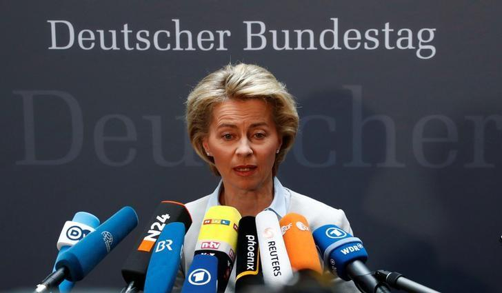 German Defence Minister Ursula von der Leyen gives a statement to the media prior she faces the defence commission of the lower house of parliament Bundestag in Berlin, Germany May 10, 2017.    REUTERS/Fabrizio Bensch