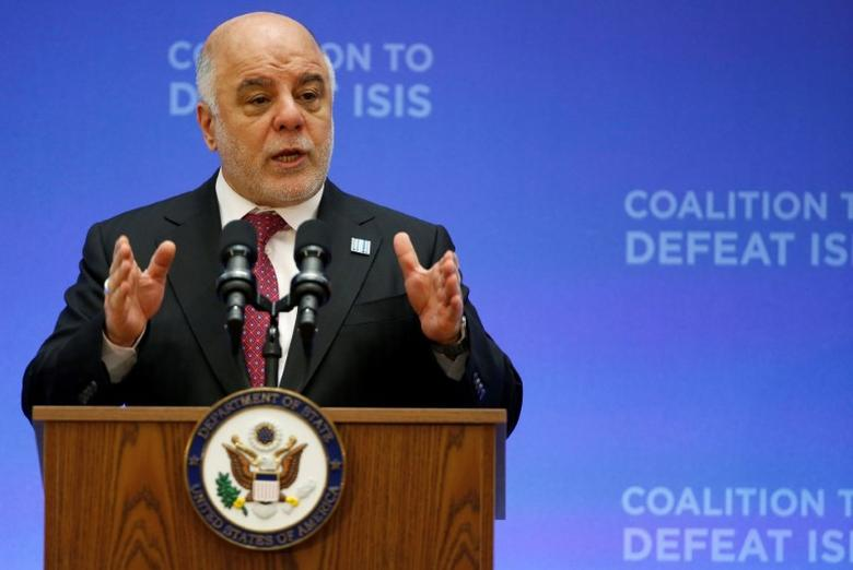 Iraqi Prime Minister Haider al-Abadi delivers remarks at the morning ministerial plenary for the Global Coalition working to Defeat ISIS at the State Department in Washington, U.S., March 22, 2017.      REUTERS/Joshua Roberts/Files
