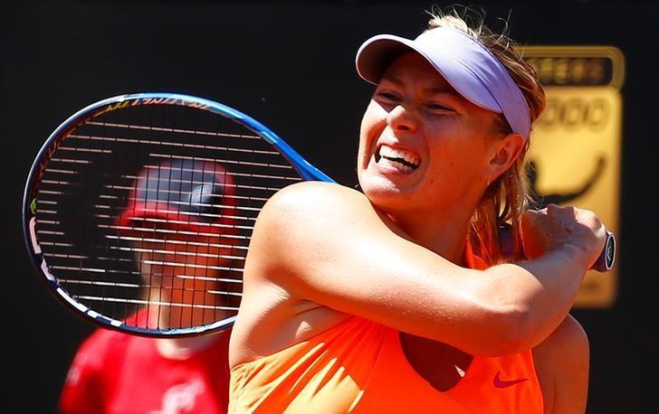 Tennis - WTA - Rome Open - Christina Michael of U.S. v Maria Sharapova of Russia - Rome, Italy- 15/5/17- Sharapova returns the ball . REUTERS/Tony Gentile