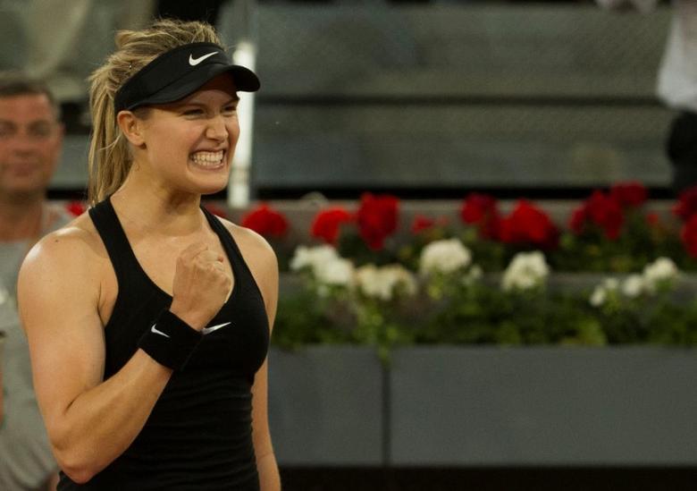 Tennis - WTA - Madrid Open - Maria Sharapova of Russia v Eugenie Bouchard of Canada - Madrid, Spain - 8/5/17 - Bouchard celebrates victory. REUTERS/Sergio Perez